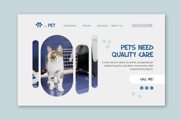 Modelo de página de destino veterinária Vetor grátis