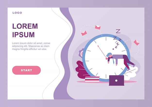 Modelo de página de página de aterrissagem com procrastinar o empresário Vetor Premium