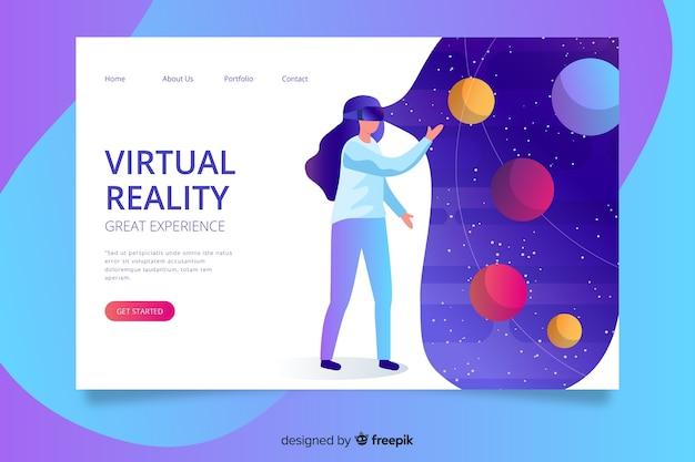 Modelo de página de realidade virtual landin Vetor grátis