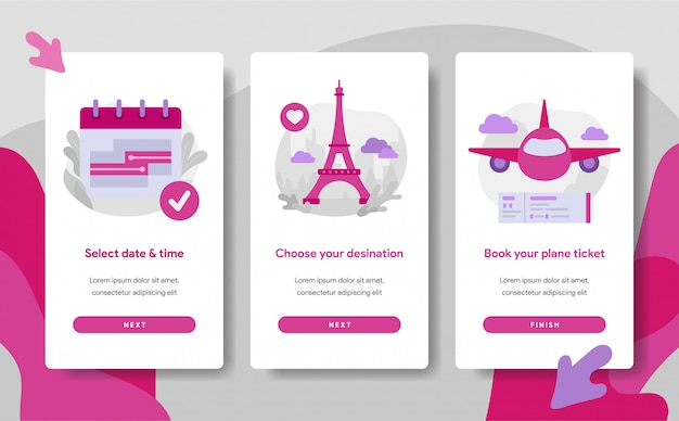 Modelo de página de tela de onboarding de reserva de bilhetes de avião on-line Vetor Premium