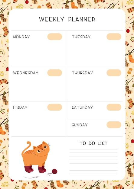 Modelo de página do planejador semanal de crianças vazio. Vetor Premium