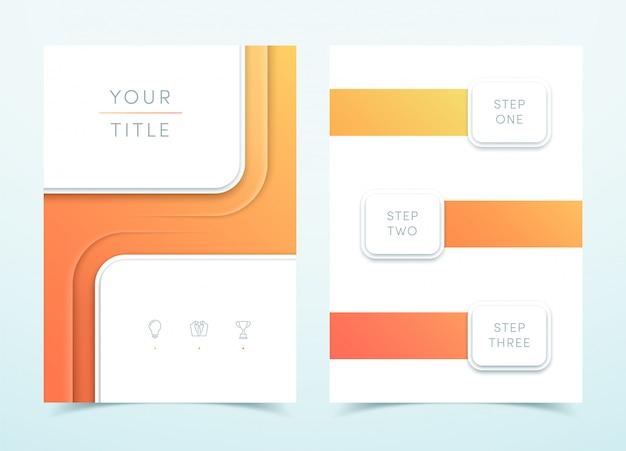 Modelo de página do vetor 3d quadrado laranja retrato Vetor Premium