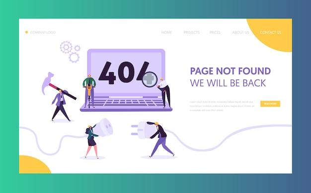Modelo de página inicial de erro de manutenção. página não encontrada sob o conceito de construção com trabalhadores de caracteres corrigindo problema de internet para o site. Vetor Premium