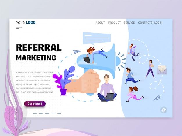 Modelo de página inicial de marketing de referência para o site ou página de destino. Vetor Premium