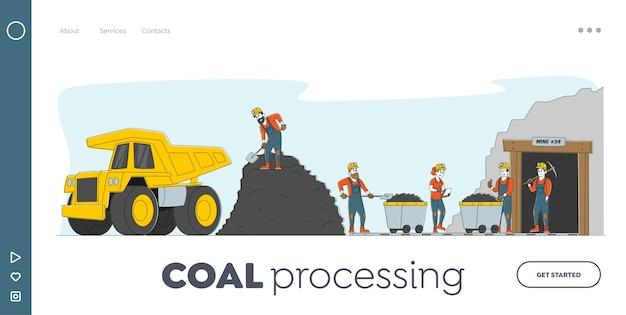 Modelo de página inicial de mineração de carvão Vetor Premium