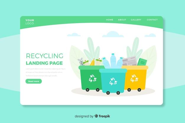 Modelo de página inicial de reciclagem plana Vetor grátis