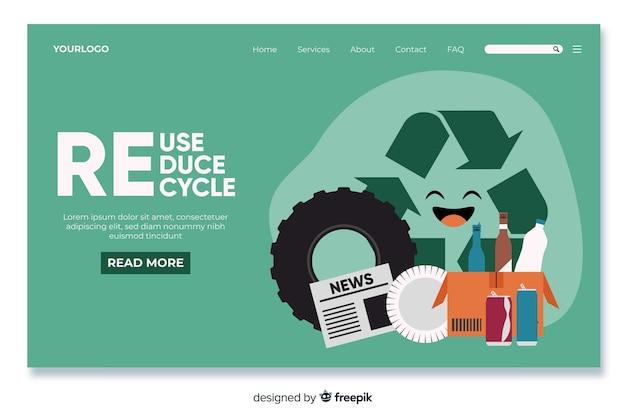 Modelo de página inicial de reciclagem plana Vetor Premium