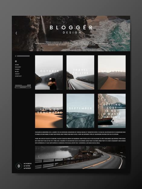 Modelo de página principal do blog Vetor grátis