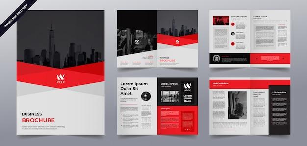 Modelo de páginas de brochura de negócios preto vermelho Vetor Premium