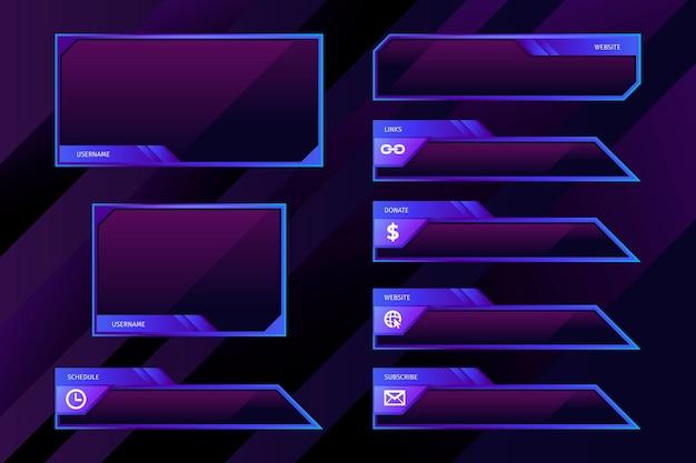 Modelo de painéis de fluxo do twitch Vetor grátis