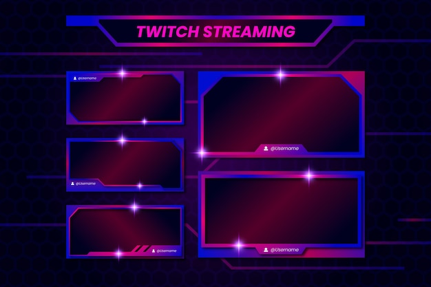 Modelo de painéis de fluxo do twitch Vetor Premium