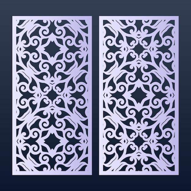 Modelo de painéis ornamentais para corte. Vetor Premium