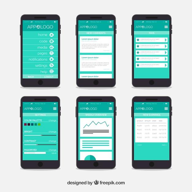Modelo de painel de aplicativo com design plano Vetor grátis