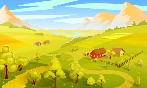 Modelo de paisagem colorida de verão Vetor grátis