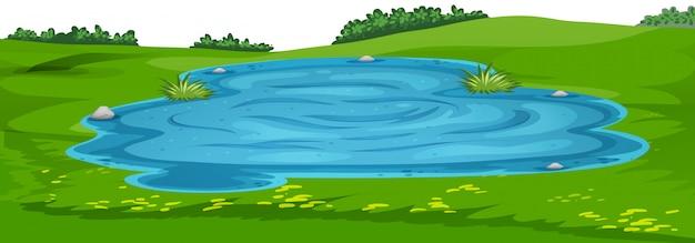 Modelo de paisagem de cena de natureza Vetor grátis