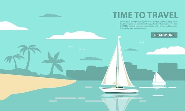 Modelo de paisagem tropical com o iate à vela e a praia com palmeiras Vetor Premium
