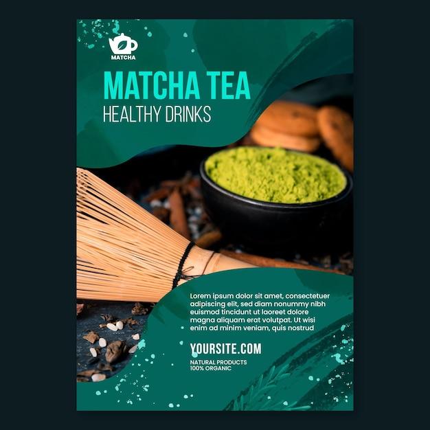 Modelo de panfleto de chá matcha com foto Vetor grátis