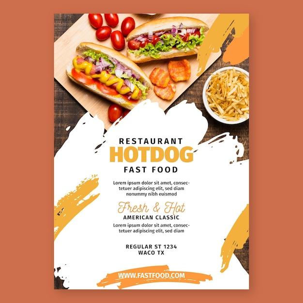 Modelo de panfleto de comida americana Vetor grátis