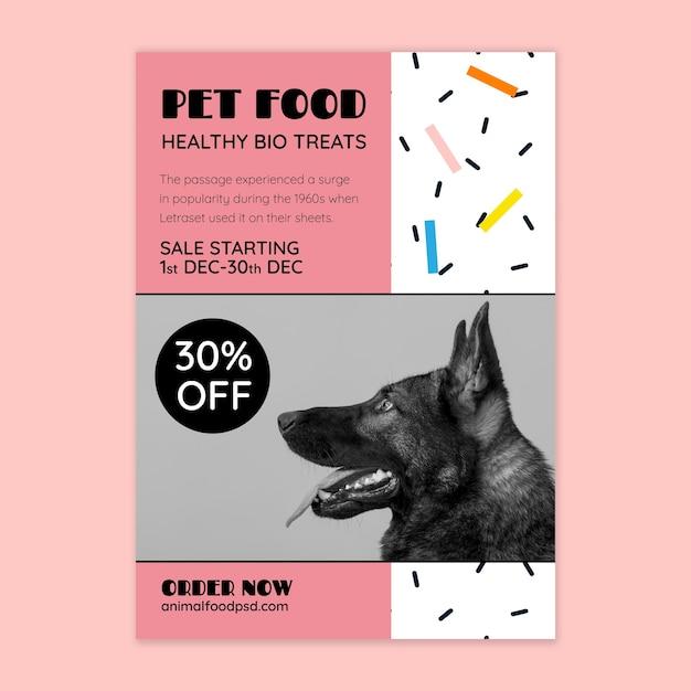 Modelo de panfleto de comida animal com foto Vetor grátis
