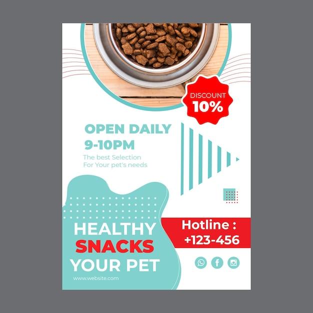 Modelo de panfleto de comida para animais de estimação com foto Vetor grátis