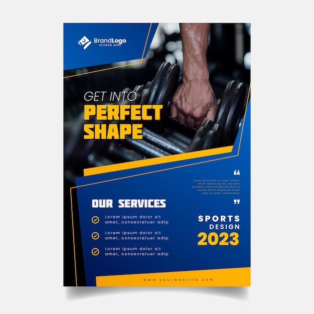 Modelo de panfleto de esporte com foto Vetor Premium
