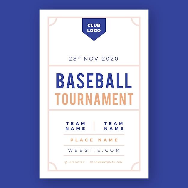 Modelo de panfleto de esporte de torneio de beisebol Vetor grátis