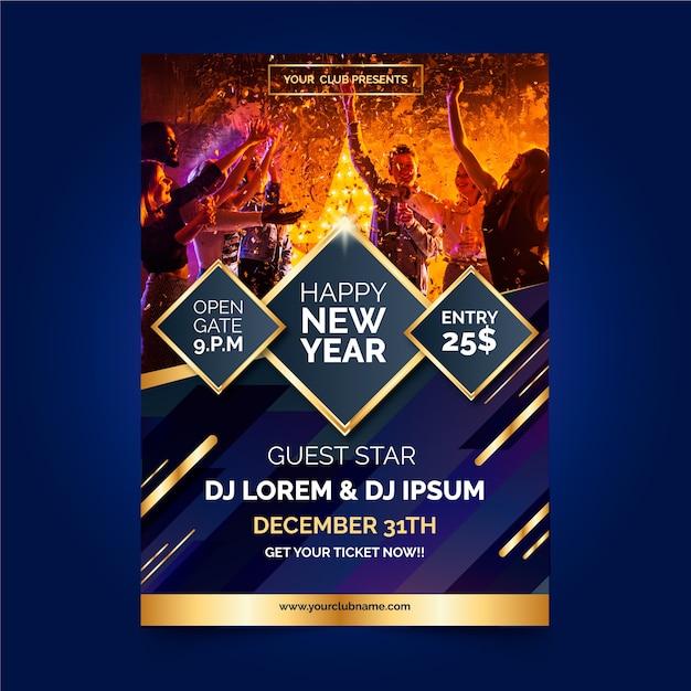 Modelo de panfleto de festa de ano novo 2020 com foto Vetor grátis
