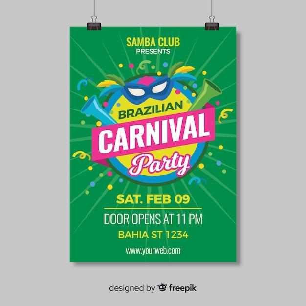 Modelo de panfleto de festa de carnaval brasileiro Vetor grátis