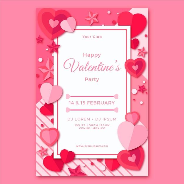 Modelo de panfleto de festa de dia dos namorados em design plano Vetor grátis