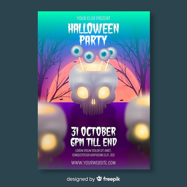 Modelo de panfleto de festa de halloween realista Vetor grátis