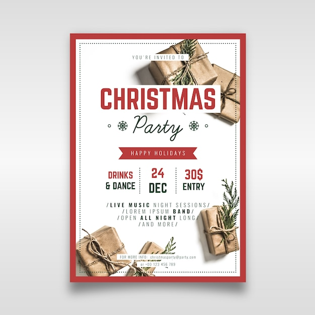 Modelo de panfleto de festa de natal com foto Vetor grátis