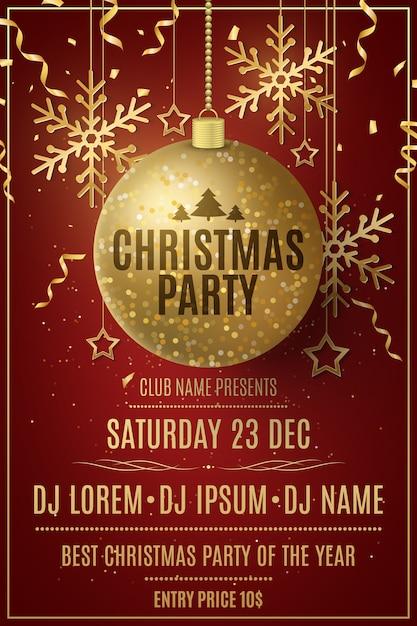 Modelo de panfleto de festa de natal. decorações de bolas douradas brilhantes, estrelas, flocos de neve sobre um fundo vermelho. Vetor Premium