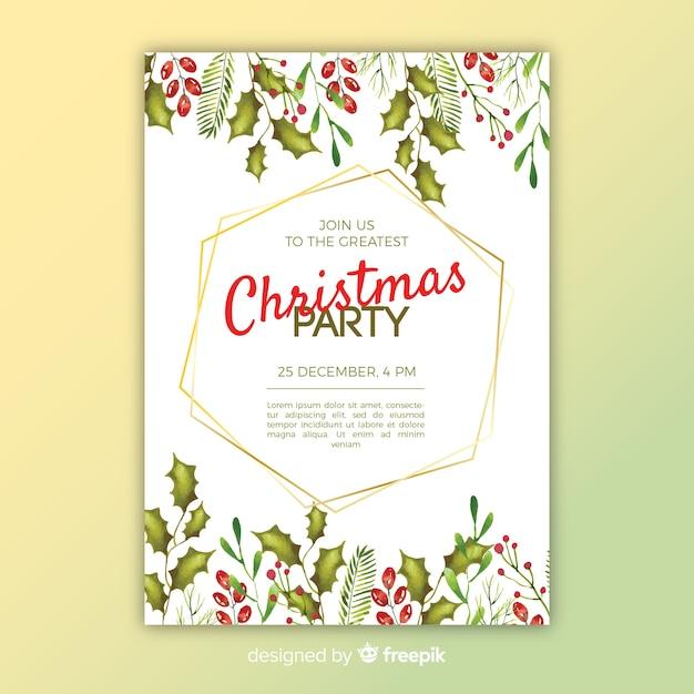 Modelo de panfleto de festa de natal em aquarela colorida Vetor grátis