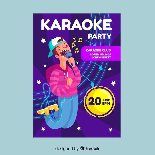 Modelo de panfleto de festa de noite de karaoke Vetor grátis