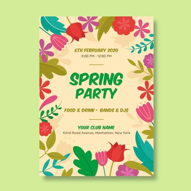 Modelo de panfleto de festa de primavera de design plano Vetor grátis
