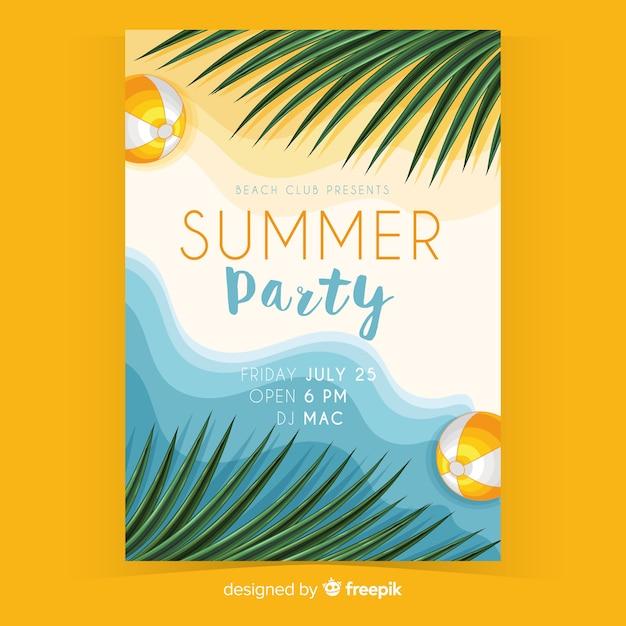 Modelo de panfleto de festa de verão realista Vetor grátis