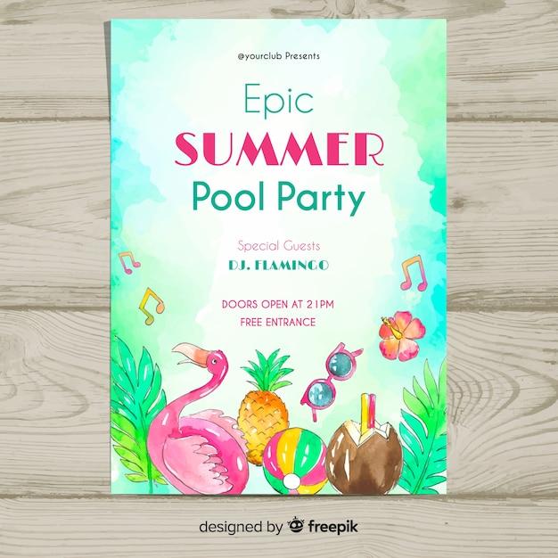 Modelo de panfleto de festa de verão Vetor grátis