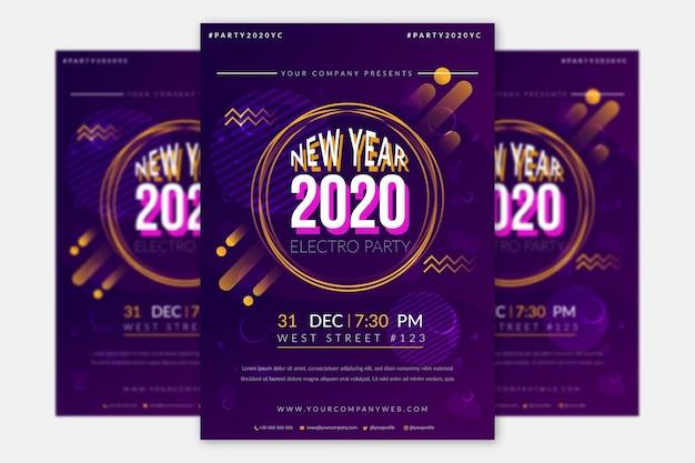 Modelo de panfleto de festa plana de ano novo Vetor grátis