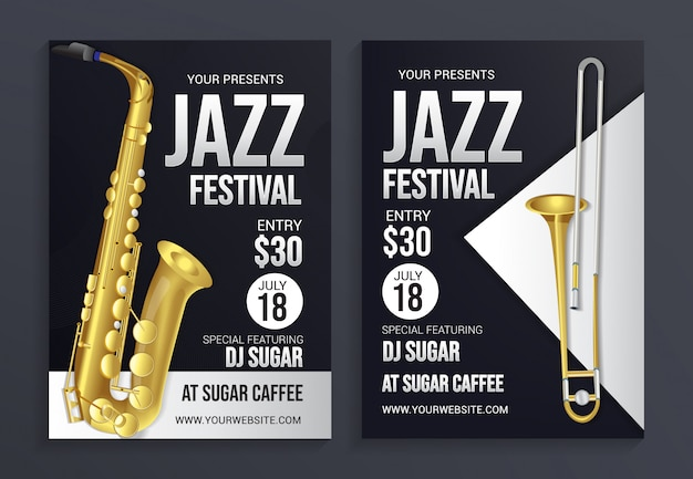 Modelo de panfleto de festival de jazz, design moderno Vetor Premium