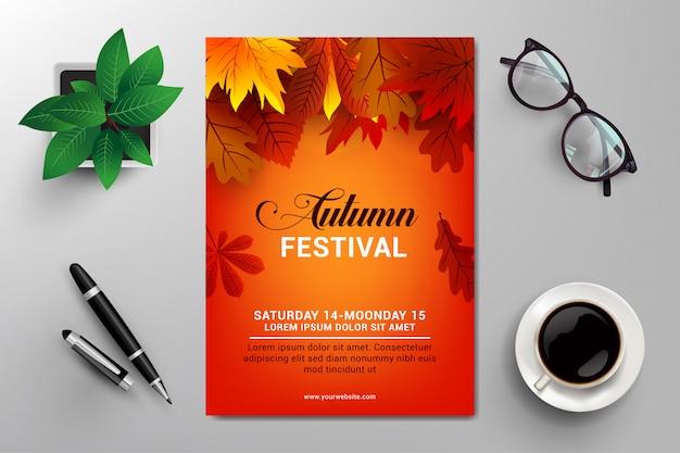 Modelo de panfleto de festival de outono Vetor Premium