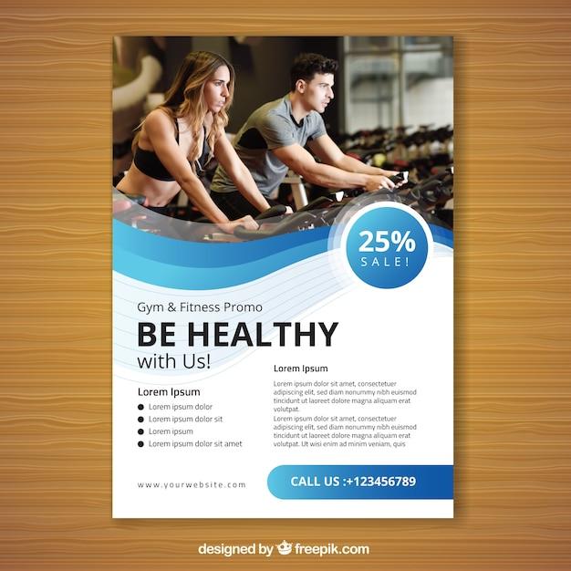 Modelo de panfleto de ginásio azul ondulado Vetor grátis