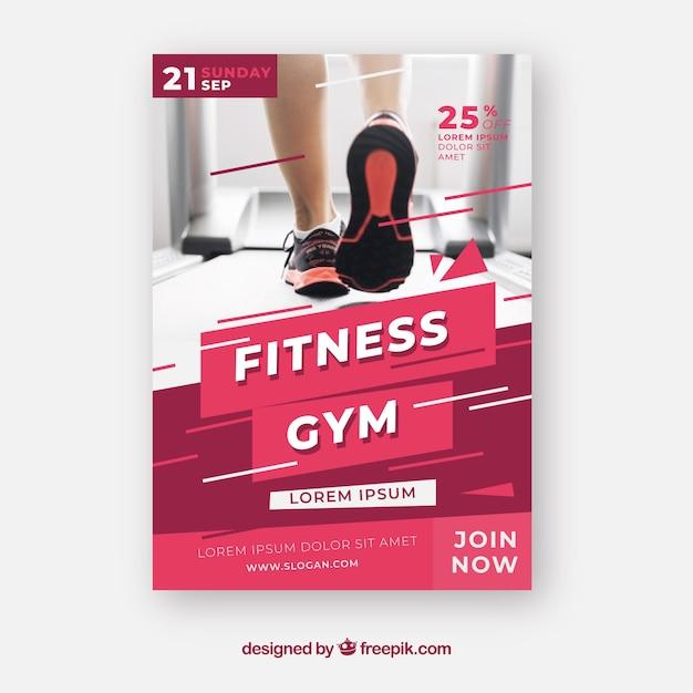 Modelo de panfleto de ginásio moderno com foto Vetor grátis