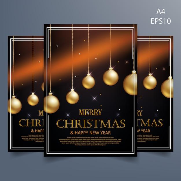 Modelo de panfleto de natal em fundo preto Vetor Premium