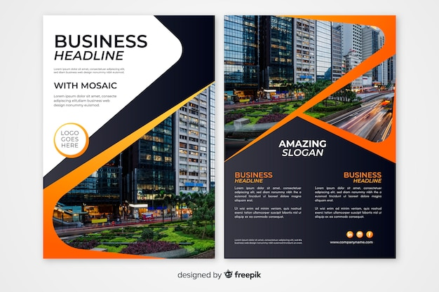 Modelo de panfleto de negócio abstrato Vetor Premium