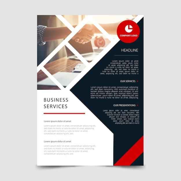 Modelo de panfleto de negócios abstratos com foto Vetor grátis