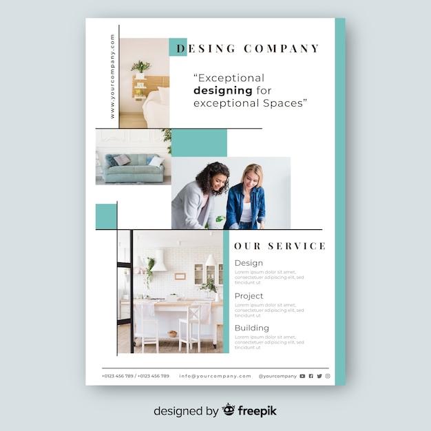 Modelo de panfleto de negócios com design de mosaico Vetor grátis