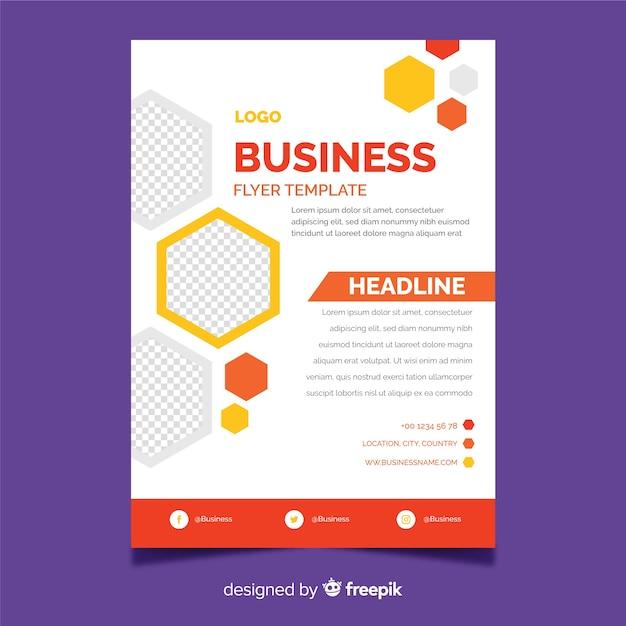 Modelo de panfleto de negócios com elementos de design de mosaico Vetor grátis