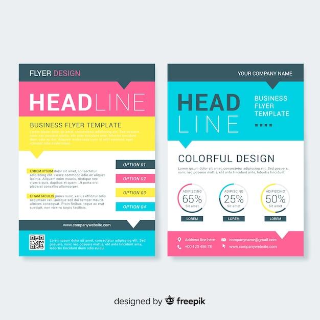 Modelo de panfleto de negócios com estilo colorido Vetor grátis