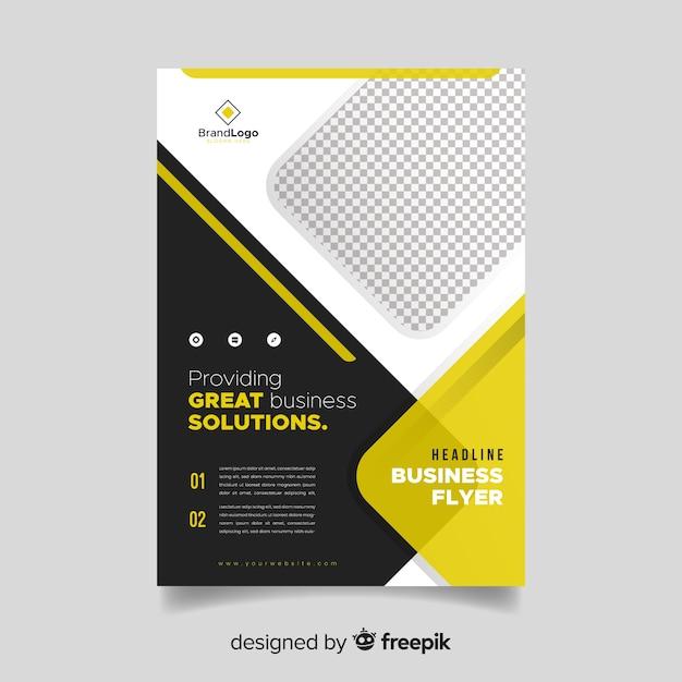 Modelo de panfleto de negócios com formas abstratas Vetor grátis