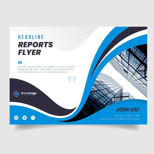 Modelo de panfleto de negócios com foto de edifícios e formas onduladas Vetor grátis